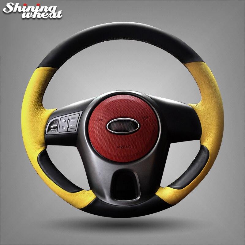 Shining wheat Black Genuine Yellow Leather Steering Wheel Cover for Kia Forte Kia Soul Kia Rio