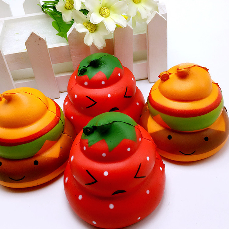 6.5CM Jumbo Colorful Strawberry/Hamburger Poo Squishy Phone Strap Slow Rising Cartoon Face Doll Decompression Toys Kids Toys P15