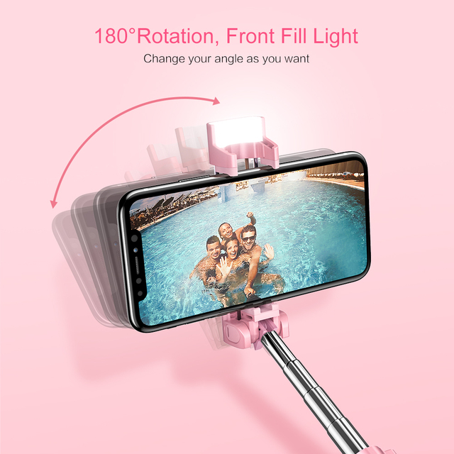 RAXFLY Mini LED Flash Bluetooth Selfie Stick For Xiaomi Samsung Selfie Stick Foldable Hand Monopod Tripod For iPhone X XR XS Max