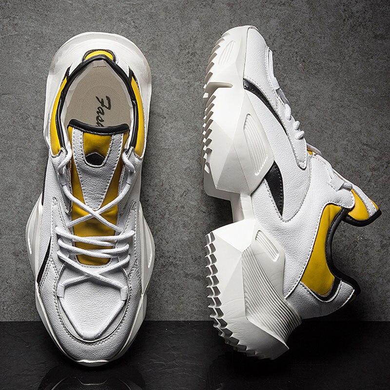 SUROM Männer Chunky Schuhe Qualität PU Leder Atmungsaktiv Casual Papa Schuhe Lace Up Fashion Outdoor Männer Turnschuhe Männlichen Schuhe Erwachsene