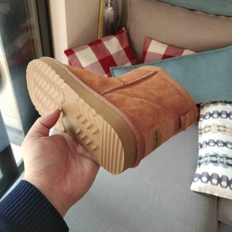 Begocool kadınlar için kar botları 100% hakiki inek süet deri avustralya yarım çizmeler sıcak kış ayakkabı botas kırmızı ucuz satış