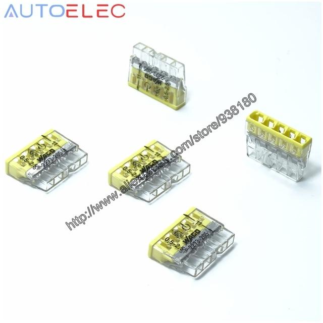 100Pcs 2273 205 MINI pushfitตัวเชื่อมต่อขนาดกะทัดรัด 5x2.5qmm CLAMP CLAMPการเชื่อมต่อPush Wireสำหรับกล่องเชื่อมต่อ
