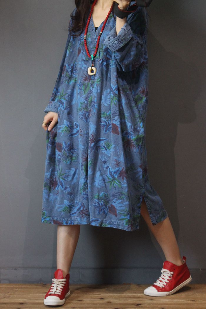 Women Printed Retro V Neck Bat Sleeve Dress Ladies Print Vintage Loose Dresses Female Plus Size
