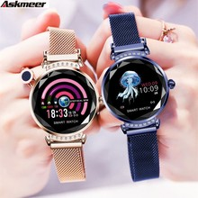 ASKMEER H2 Deluxe Lady Smart Watch Waterproof Woman Fashion Smartwatch Heart Rate Fitness Tracker Bracelet for Android IOS
