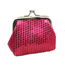 New Ladies Wallet Sequin Coin Purse Small Fresh Art Solid Color Mini Convenient Key Earphone Storage Box