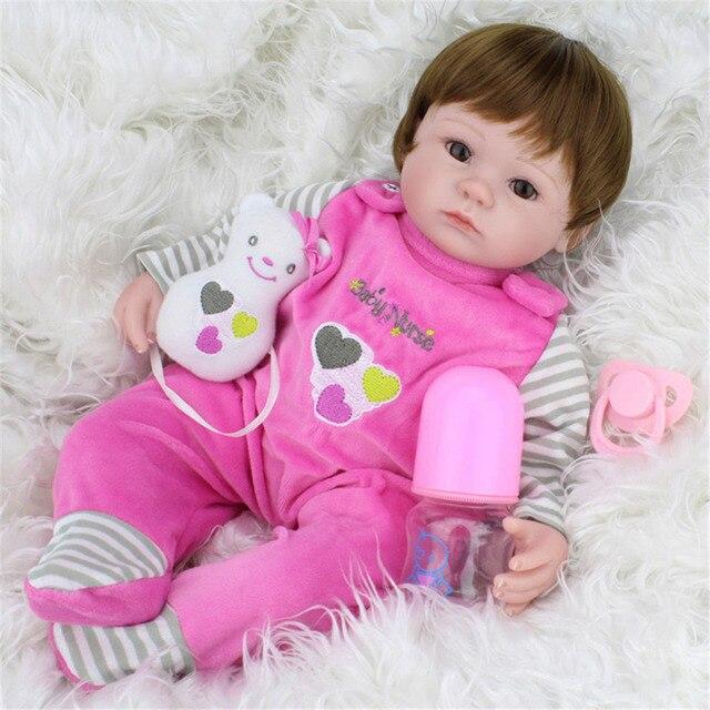 Cute Soft Silicone Simulation Dolls Reborn Baby Brown Wig Girl Handmade Cloth Body Lifelike  Babies Accompaning Doll Toys