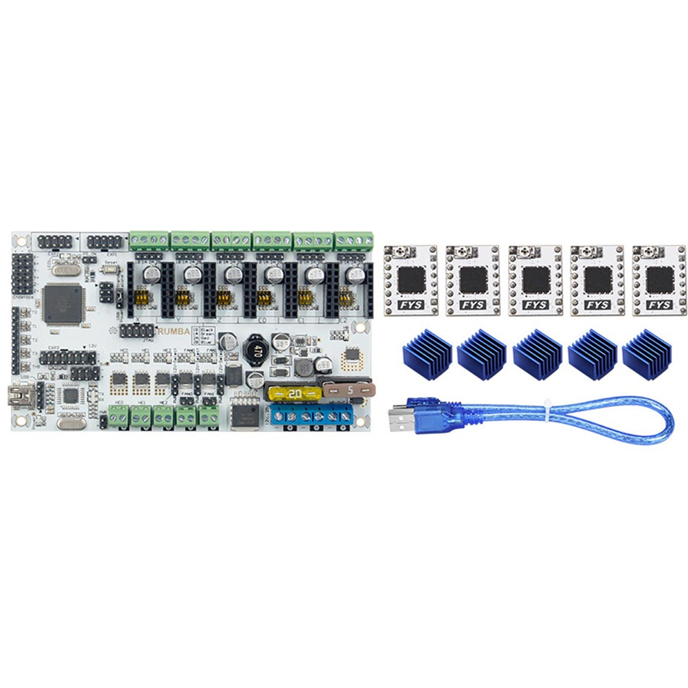 все цены на 3D Printer Start Kits Mother Board Upgrade Rumba+S109 Driver+Heat Sink Support with 6pcs Extruder SL@88