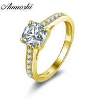 AINUOSHI Trendy 14K Solid White/Yellow Gold Square Ring Channel Setting Band Cushion Cut Sona Diamond CZ Wedding Engagement Ring