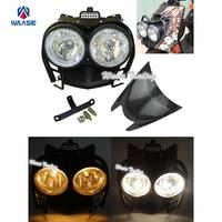 Bug Eyed Dual Head Light Lamp Headlight Headlamp Upper Top Cover Carbon Look Guard Set Black
