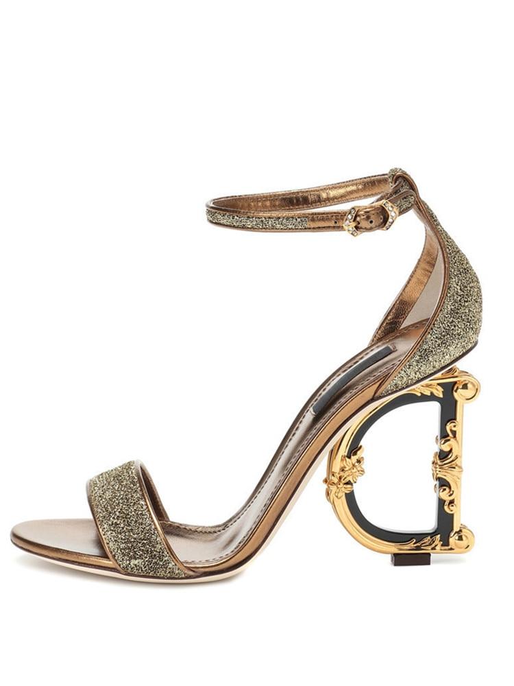 Spot on Ladies-Mid Heel Diamante Trim Bottillons STRAP SANDALS