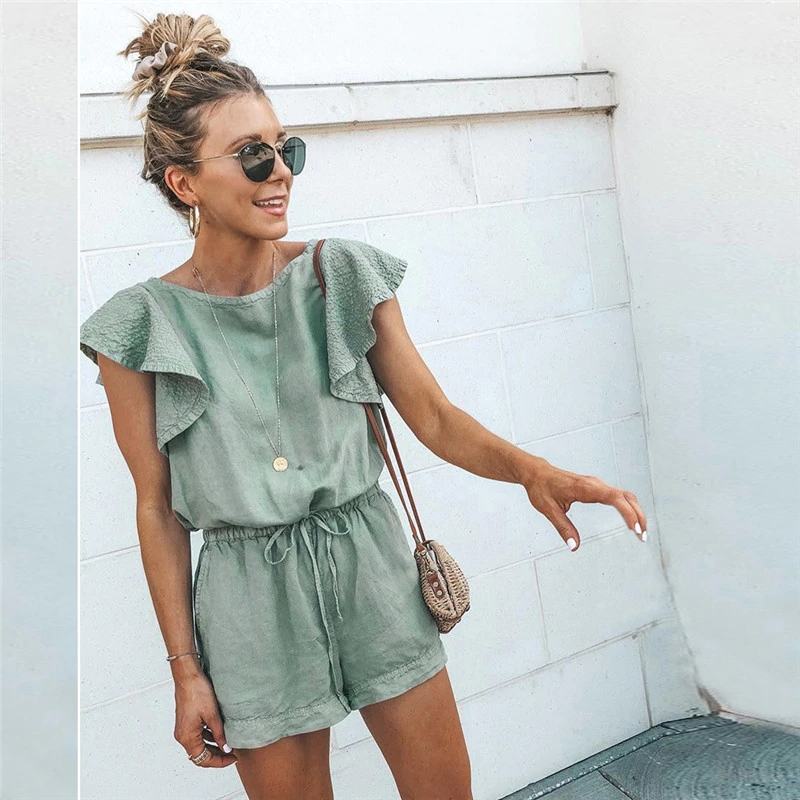 Nadafair Summer Playsuits Women Jumpsuit Short Cotton Linen Casual Ruffles Elastic Waist Sexy Rompers Overalls Mono Mujer