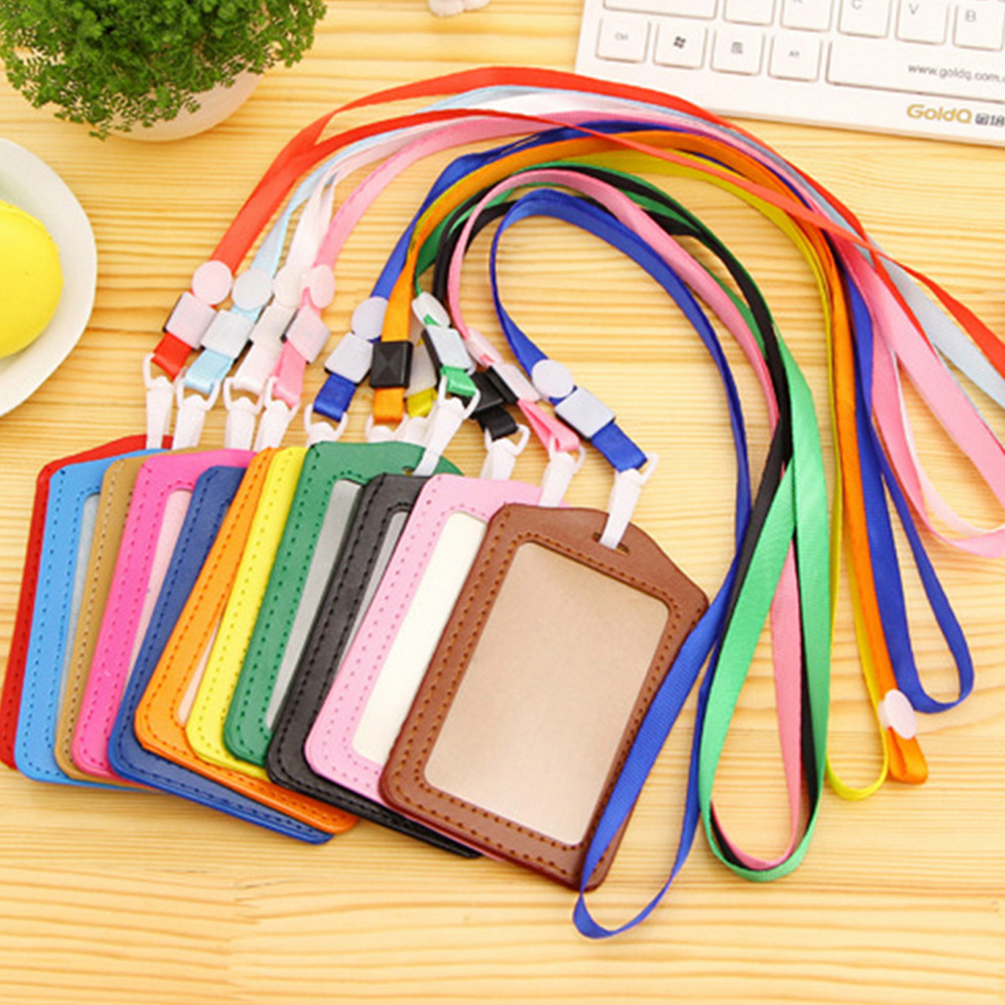 1pcs Colorful Credit Card Holders Women Men PU Bank Card Neck Strap Card Bus ID Holder Students Kids Identity Badge With Lanyard