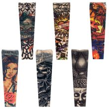 1pc sun sleeve tattoos Designs Nylon Elastic Sleeve Arm Stockings temporary Spring Summer Protect Long Arm Warmer Party Decor(China)