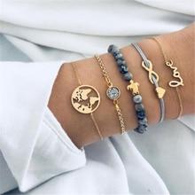 Ailodo 5 Pcs/Set Bohemia Turtle Heart Map Charm Bracelets Set For Women Vintage Stone Beads Fashion Jewelry LD128