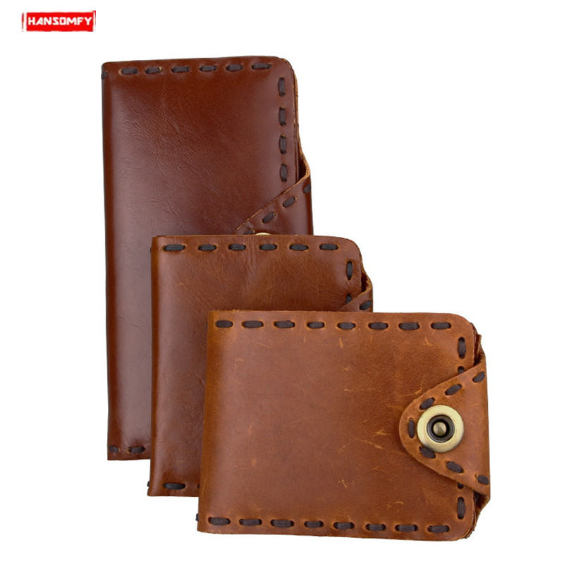 Men Wallet Genuine Leather Card Holder Handmade Clutch Bag Dragon Purse Cowhide