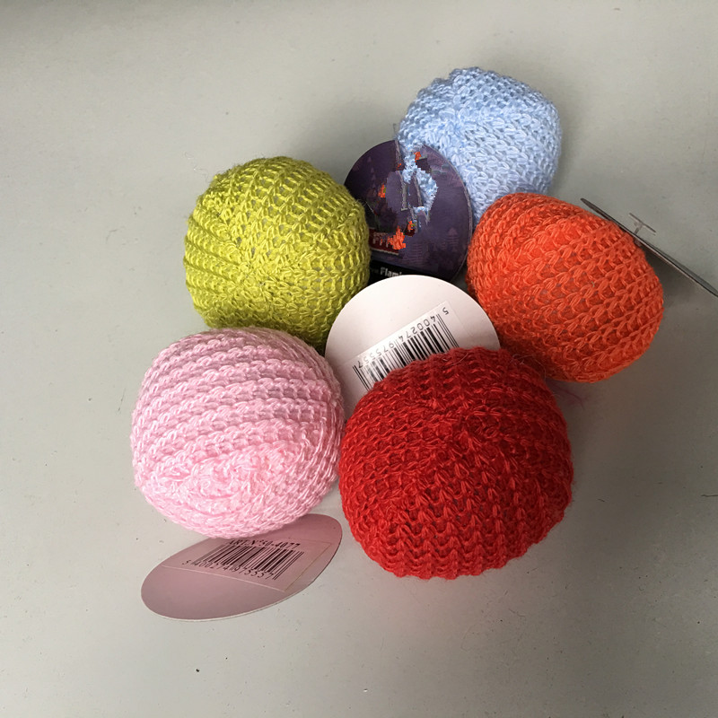 usd0.33/pc Wholesale Free shipping pet cat toy paying toys kitten toy wool ball mixed colors 30pcs/lot