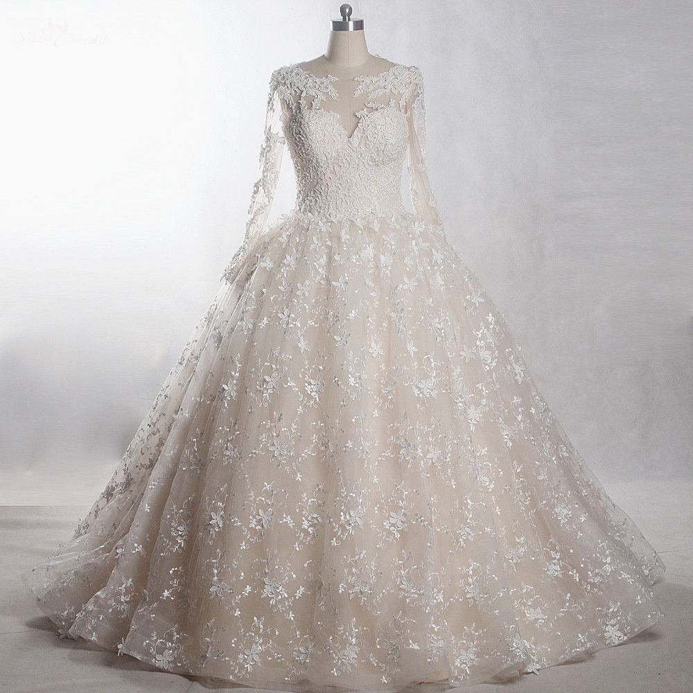 RSW1288 Yiaibridal Boat Neckline Long Sleeve Removable Tulle Overskirt Colored Ball Gown Wedding Dresses