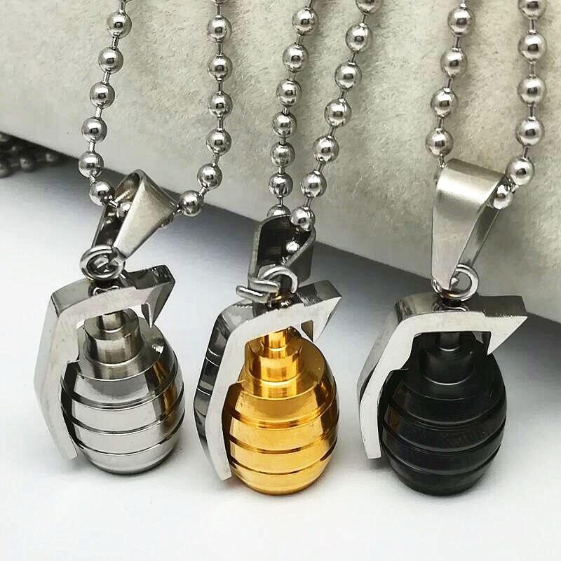 Mode Punk Hommes En Acier Inoxydable Argent Grenade Pendentif Fit Collier Chaîne Cadeau