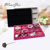 Top Grade 12 Lưới Nhung Jewelry Organizer Bead Hiển Thị Trường Hợp Chia Tray Bracelet Bangle Hồ Mặt Dây Chuyền Lưu Trữ Mang Ch