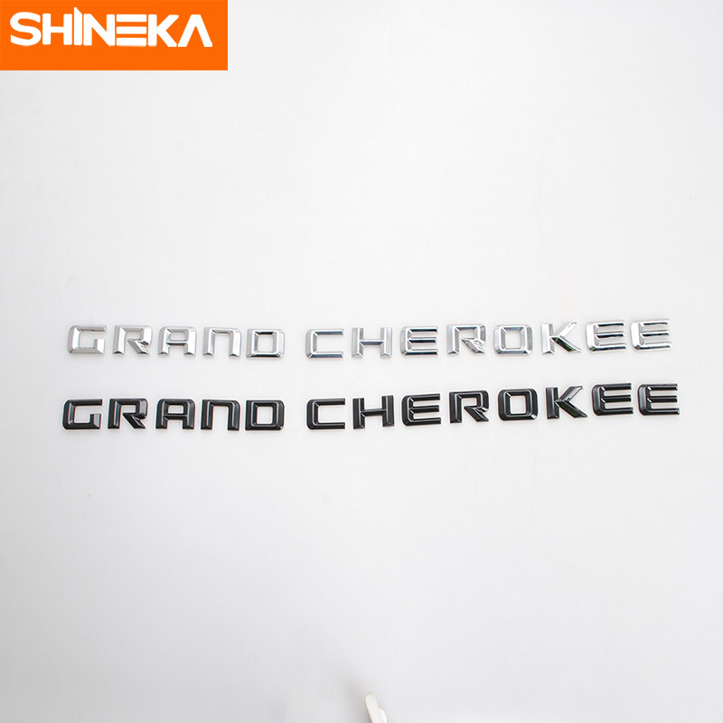 SHINEKA Emblems For Jeep Grand Cherokee 2014 2016 ABS Car Custom Styling Emblem Plastic 3D Letter Stickers For Grand Cherokee