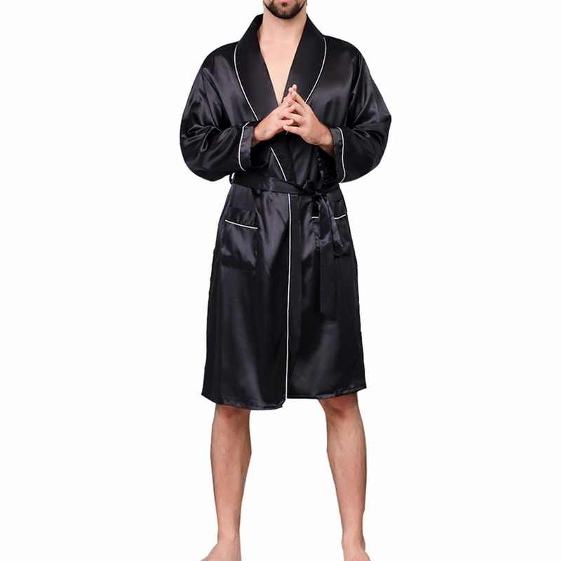 2019 New Men Black Lounge Sleepwear Faux Silk Nightwear For Men Comfort Silky Bathrobes Noble Dressing gown Men's Sleep Robes