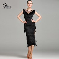 2017 Tango Competition Dress Latin Dance Dress Women High end Tassel Salsa Dress Latin Standard Costume Black Color