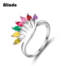 Ailodo Peacock Shape Rings For Women Fashion Colorful CZ Engagement Wedding Trendy Party Jewelry Birthday Gift LD152