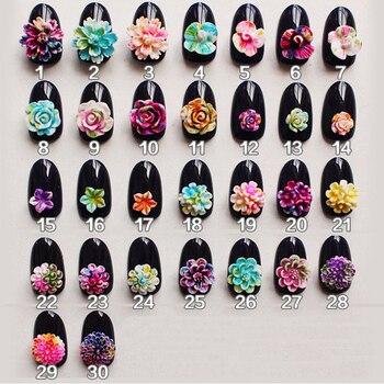 Resina colorida 3d flores teñidas Nail Art 2018 Nail Jewelry nueva llegada 50 Uds NP255