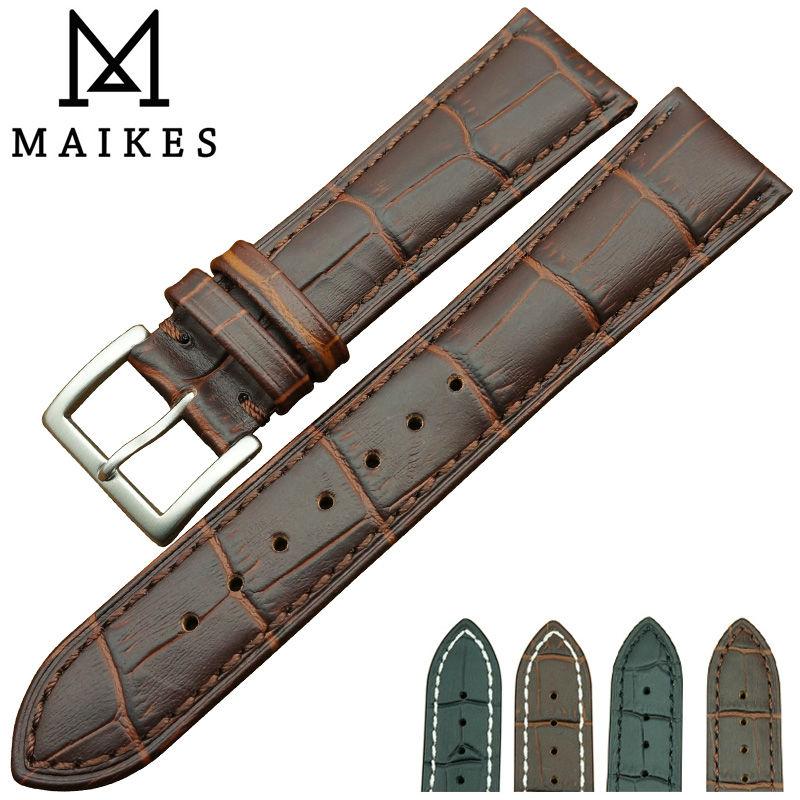Prix pour MAIKES Usine Vente Directe Cuir Véritable bracelet de Montre 18mm 20mm 22mm Boucle En Acier Inoxydable Bande de Montre Hommes pour Omega