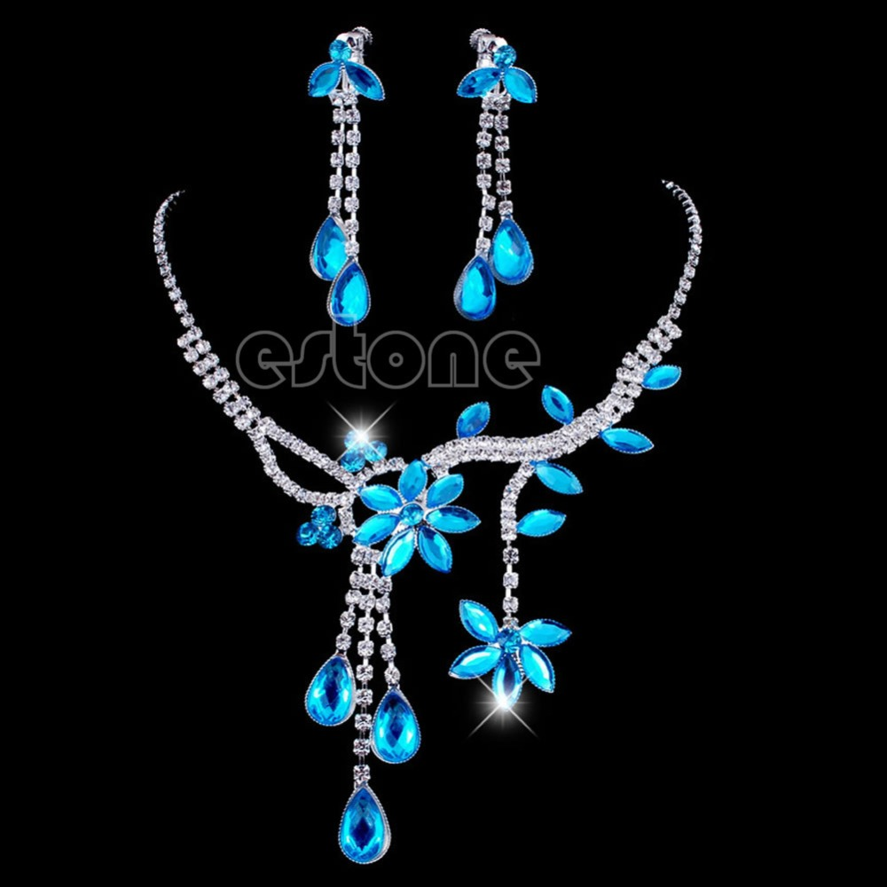 New Wedding Bridal Flower Leaf Rhinestone Crystal Necklace Drop Earrings Jewelry Set