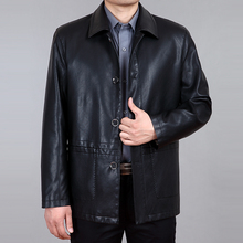 Autumn and winter medium-long casual male turn-down collar leather clothing Men leather jacket outerwear top Jaqueta de couro