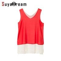 100 REAL SILK Women Tank Tops Solid Red V Neck Silk Chiffon Cheer Tanks Summer Fashion