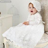 Крестильное платье для малышей длинные кружевные платья в стиле принцессы для новорожденных; платья для крестин 1 год День рождения свадебн...