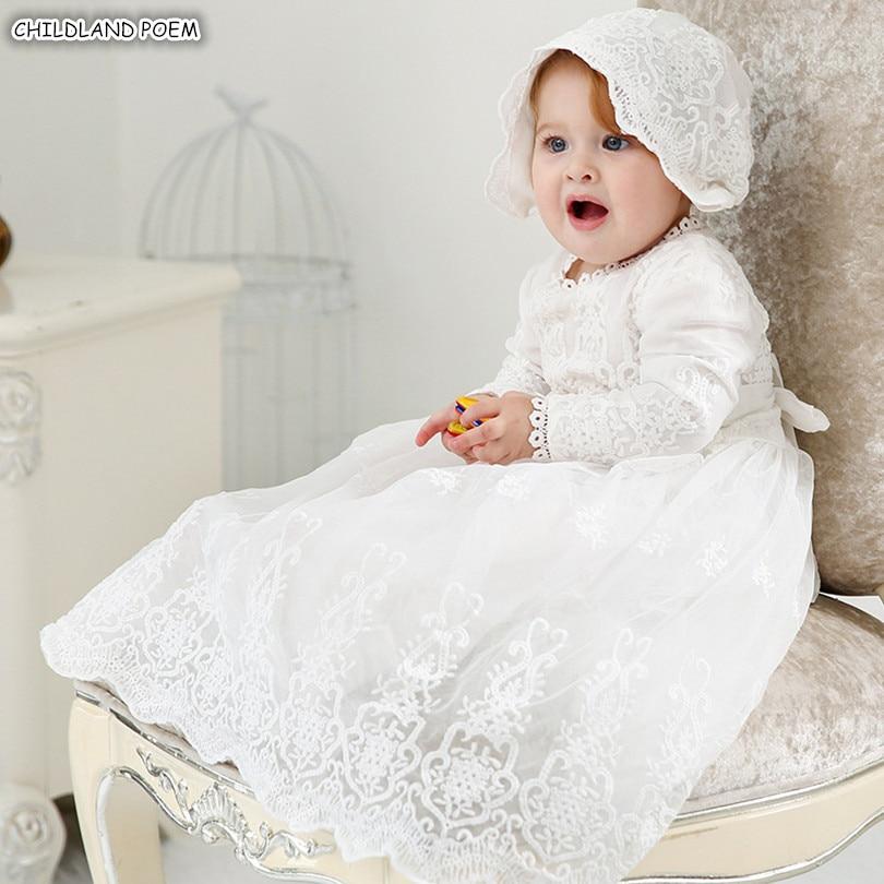 Vestido De Bautizo Vestido De Bautizo Bebé Niña Recién nacidos Traje Vestido de algodón hecho a mano