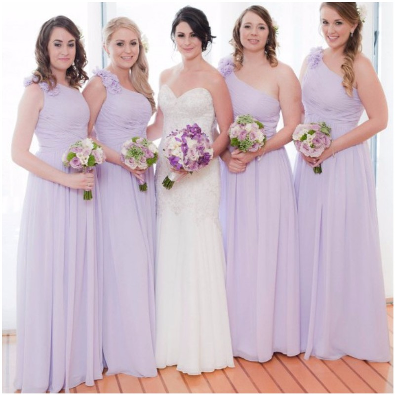 vestido madrinha 2019 Simple Elegant Lavender   Bridesmaid     Dress   One Shoulder Chiffon Party   Dresses   For Wedding Party