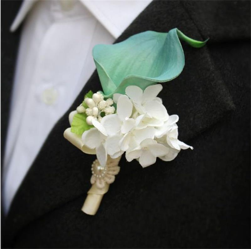 DIY calla lily Corsage flowers Groom groomsman suit men Boutonniere pin brooch Wedding party decorations