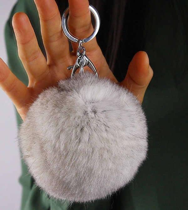 8 cm Genuine rex Rabbit fur bola cor Prata bonito keychain Saco chave Do Carro anel chave Pingente de pele pom fofo cadeias