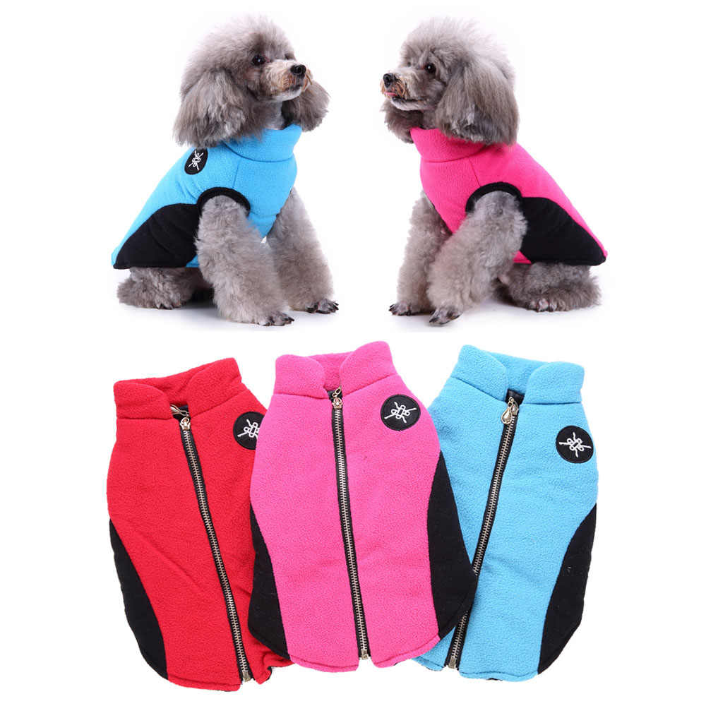 Winter Dog Coat Warm Fleece Zipper Vest Jacket Pet Clothes For Small Medium Dogs Chihuahua Clothing York Outfit Cat Suit 3 Color