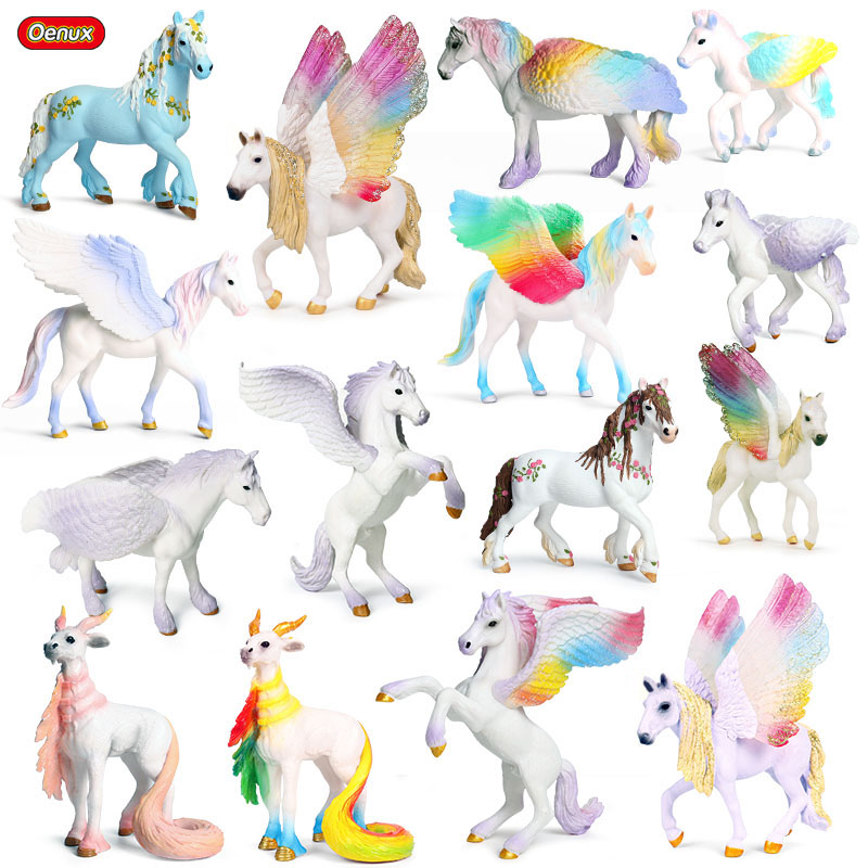 Oenux Original Classic Fairy Tale Fly Horse Simulation Animal Mythical Rainbow Pegasus Action Figures Model PVC Kids Toy Gift