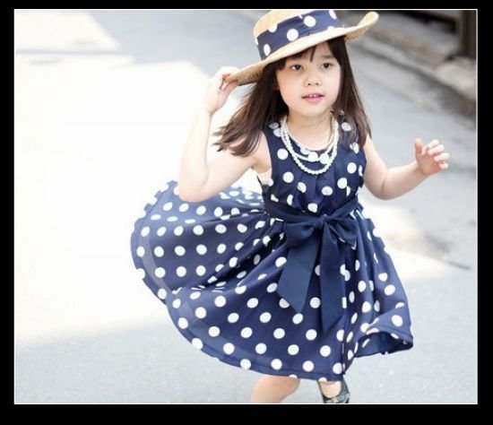 New 2014 Girl Print Dress Brand Summer 2-11 Age Girl Party Dress kid/child Polka Dot Dresses Princess Children Clothing