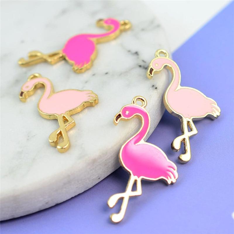 10pcs Handmade Trendy Alloy Flamingo DIY Jewelry Pendant for Necklace Bracelet