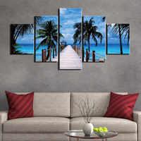 Cuadro de lienzo de arte de pared cuadro Modular 5 paneles de paisaje de parque de Bali póster de decoración del hogar Marco de impresiones HD
