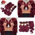 7A Unprocessed Human Brazilian 99J Wine Red Virgin Hair 3Bundles With Closure Body Wave Burgundy Hair With Lace Closure 4Pcs Lot