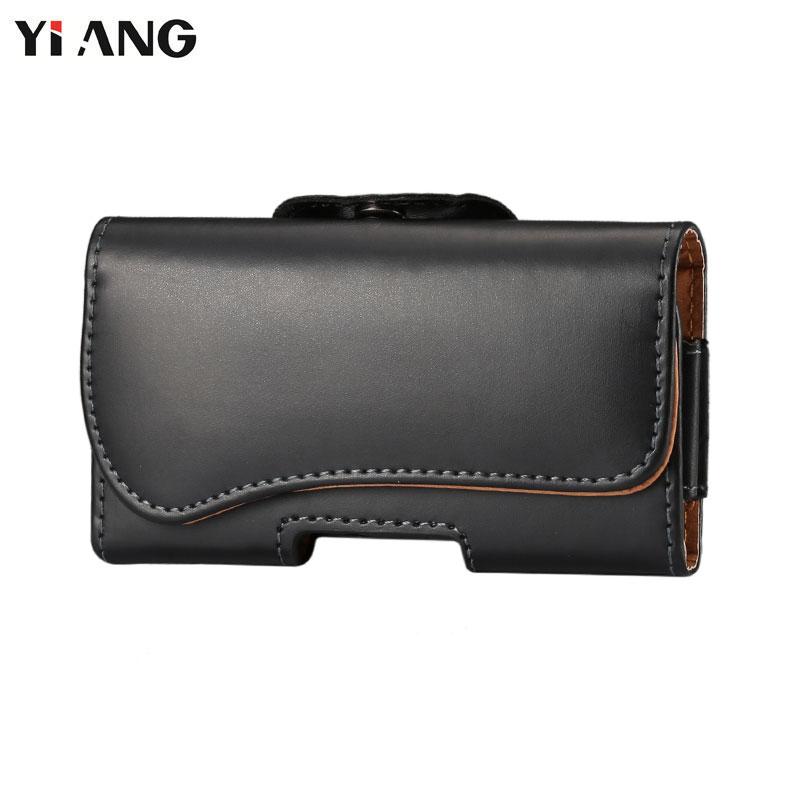 YIANG Brand 4.0~5.7 Inch Men Waist Packs Mobile Phone Bags Hook Loop Belt Clip Case Waist Bag PU Leather Fashion Belt Clip Bag