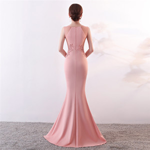 Image 3 - Its Yiiya Evening Dresses Royal O neck Sleeveless Pearls Party gown Elegant Embroidery zipper back long Trumpet Prom dress C188
