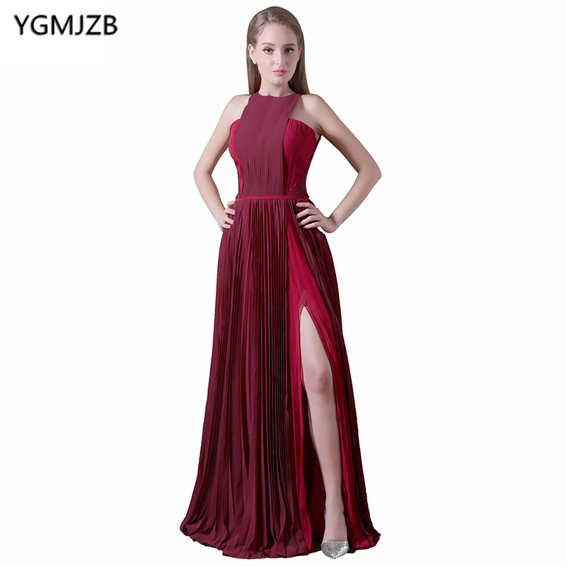 Cheap Long Evening Dresses 2018 A Line Halter Floor Length Pleat Prom Dress Side Split C ...