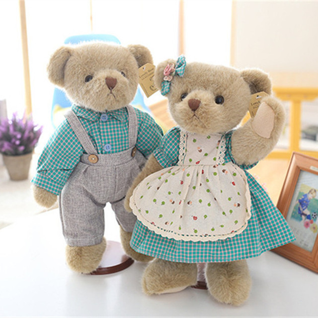 ebe70212bad Cute Unique Classic Couple Teddy Bear in Green Grid Lattice Clothes Plush  Toys Dolls 1 Pair 35cm