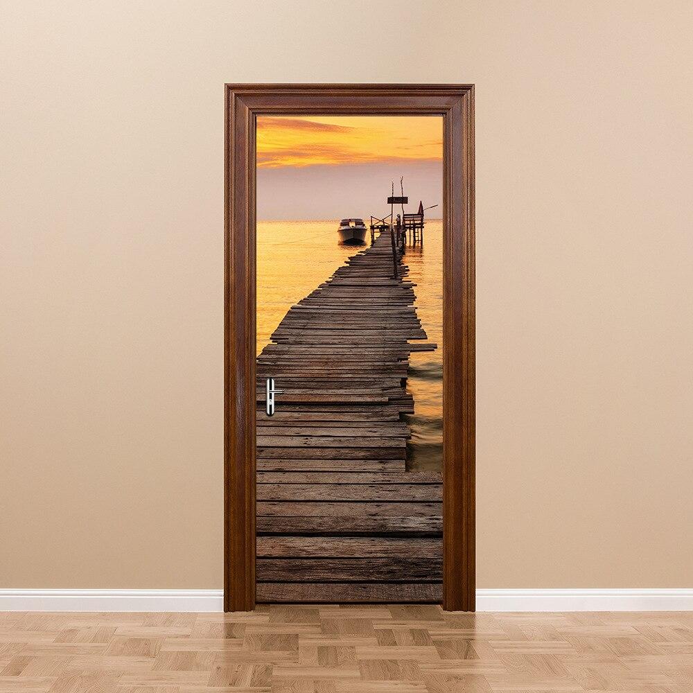 FUNLIFE Приморский закат Pier DIY Наклейки muraux Спальня Гостиная плакат имитация 3D ПВХ водостойкий двери Стикеры