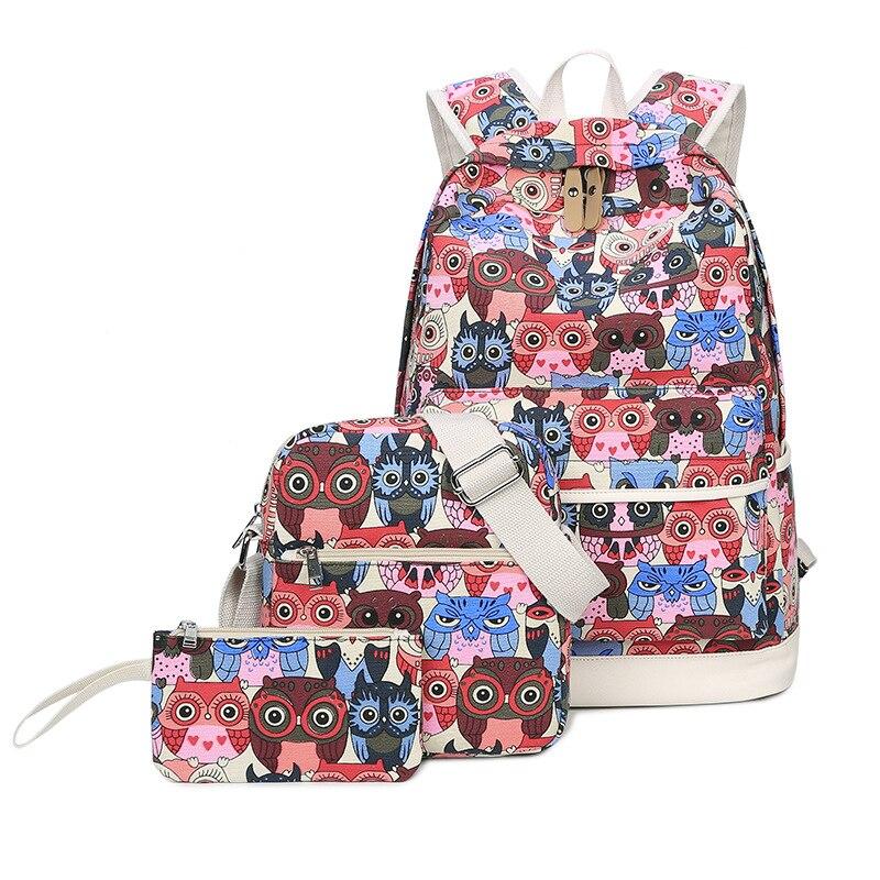 Set Backpack Women Animal Owl Printing Backpacks For Teenage Girls Canvas Bookbags Women Shoulder Bags Purse For Women Mochila