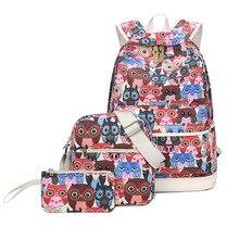 Set Rucksack Frauen Tier Eule Druck Rucksäcke Für Teenager Mädchen Leinwand Bookbags Frauen Schultertasche Handtasche Für Frauen Mochila